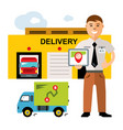 delivery logistics center flat style vector image