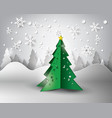 paper snowflakes christmas tree vector image