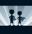 Super boys silhouettes vector image