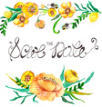 Watercolor yellow and green flowers and bee vector image