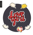 Love youpatches lettering vector image