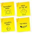 Sheets of paper with restaurant messages vector image vector image