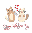 Cat present mouse Happy Valentines Day vector image
