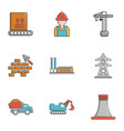 industry technology icons set cartoon style vector image
