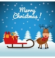 Merry Christmas concept with deer and gift icon vector image