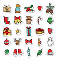 set of xmas hand draw stickers icons cartoon and vector image