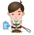 white shirt volunteer planting tree vector image