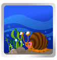 a snail underwater background vector image vector image