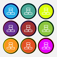 Network icon sign Nine multi colored round buttons vector image