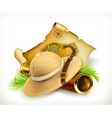 Pith helmet Treasure map Adventure icon vector image