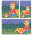 Man kindling campfire vector image