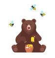 bear character eating sweet honey vector image