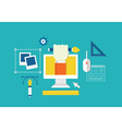 Concept of web design and devices for work vector image