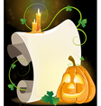 Smiling Jack o Lantern parchment and burning vector image
