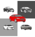 car sedan vehicle silhouette icons colored and vector image