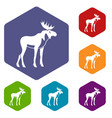 moose icons set vector image