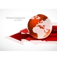 Red globe with arrows vector image