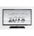 2018 silver chrome numbers design ont tv screen vector image
