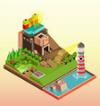 Flat 3d isometric infographics concept art vector image