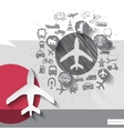 Hand drawn airplane icons with icons background vector image vector image