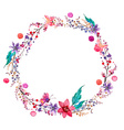 Watercolor flower wreath background vector