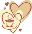 coffee cup with love vector image vector image