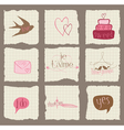 paper love and wedding design elements -for invita vector image