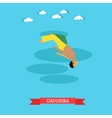 Capoeira fighter shows his skills flat design vector image