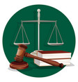 judge gavel and grey scale with two book on green vector image