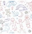 Kids Drawings doodle seamless pattern Vintage vector image