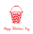 Love bucket with hearts Happy Valentines day vector image