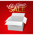Open gift box template isolated on red background vector image