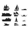 Ship and boats silhouette vector image