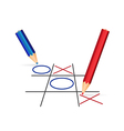 Two pencils playing tic-tac-toe vector image