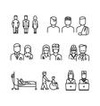 Doctor patient nurse thin line icons set vector image
