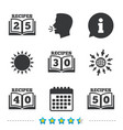 cookbook icons fifty recipes book sign vector image