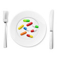 medical pills on white plate with knife and spoon vector image vector image