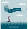 retro summer poster with wavy sea and boat vector image vector image