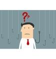 Cartoon businessman thinking between hooks vector image