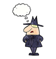 cartoon man in coat and hat with thought bubble vector image