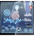 Businessman presses interface vector image