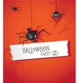 Halloween spider in a hat and tie vector image