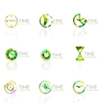 Linear time abstract logo set connected vector image