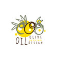 olive oil label with some olives hand drawn on vector image