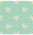Tile cupcake pattern with polka dots vector image