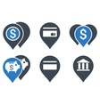 Bank Map Markers Flat Icons vector image