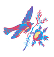 Flying bird with branch of a rose isolated white vector image