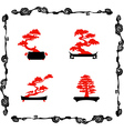 Collection of chinensi bonsai silhouettes vector image vector image