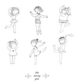 Black and white set of handdrawn dancing girls vector image