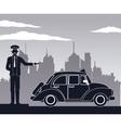 antique cab car driver service public pictograh vector image